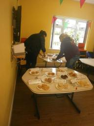 Helen and Lauren judging the Bacton Bake Off